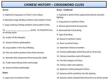 Crossword - Chinese History