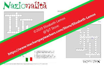 Crossword: Cruciverba sulle diverse nazionalità + chiave (Italian/Italian) A1