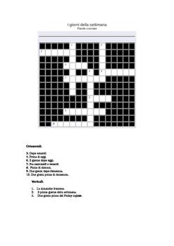 Crossword Days of the week in Italian