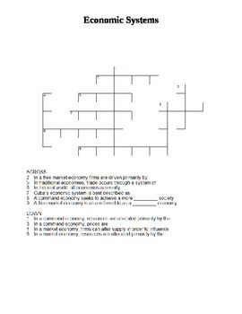 Crossword - Economic Systems