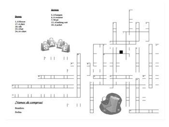 Crossword - En la tienda de ropa / Ir de Compras / La ropa