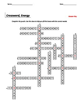 Crossword, Energy Unit, Middle School Science, 6-8 Science