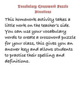 Crossword Homework Activity