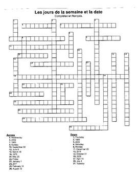 Crossword:  Les jours de la semaine et la date