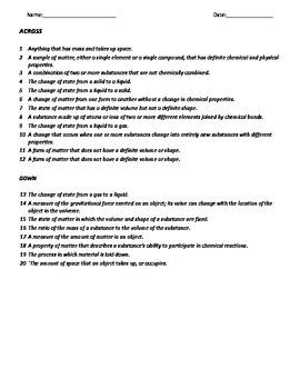 Crossword, Matter, Middle School science, 6-8 Science
