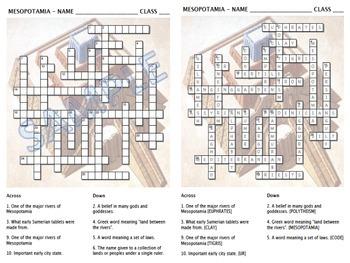 Crossword - Mesopotamia