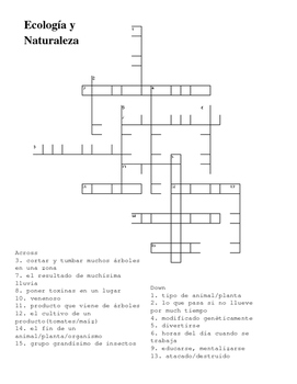 Crossword Nature Environment Medio Ambiente IB Spanish Spanish 3 Spanish 4