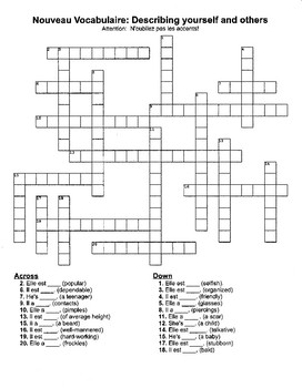 Notes and Crossword: Nouveau Vocabulaire - Describing yourself and others