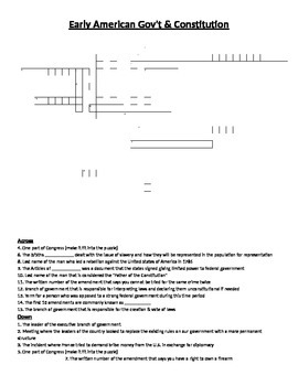 Crossword Puzzle- Early American Government & Constitution