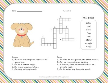 Crossword Puzzle - Henry and Mudge - Journeys Aligned