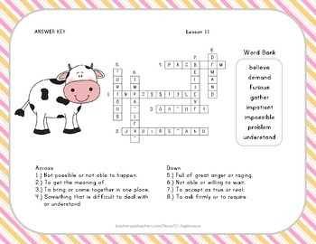 Crossword Puzzle - Click Clack Moo - Journeys Aligned