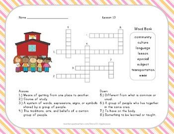 Crossword Puzzle - Schools Around the World - Journeys Aligned