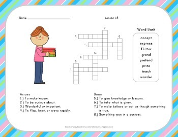 Crossword Puzzle - My Name is Gabriela - Journeys Aligned