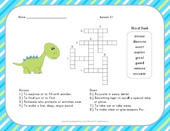 Crossword Puzzle - The Dog that Dug for Dinosaurs - Journeys Aligned