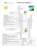 Middle School Physical Science Crossword Puzzle - Sources of Energy