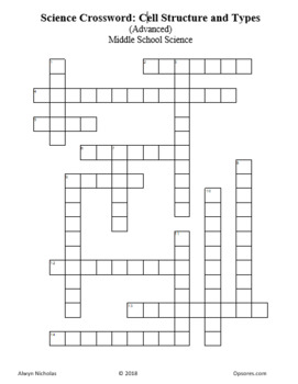 Crossword Puzzle: Cell Structure and Types (Advanced)