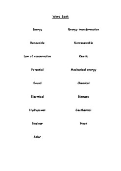 Crossword Puzzle - Forms of Energy