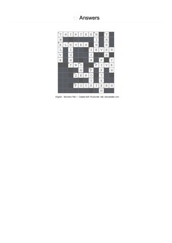 Crossword Puzzle -- English - Numbers Part 1