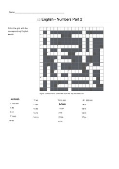 Crossword Puzzle -- English - Numbers Part 2
