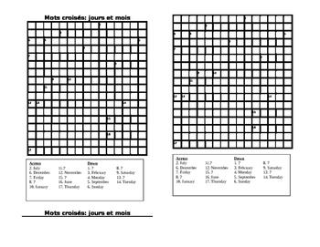 Crossword Puzzle French Days of the Week & Months