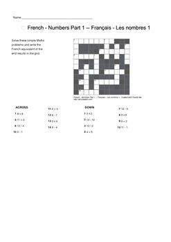 French Vocabulary - Numbers Part 1 Crossword Puzzle
