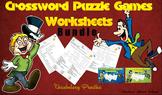 Crossword Puzzle Games Worksheets Bundle