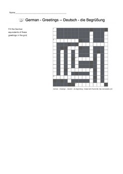 German Vocabulary - Greetings Crossword Puzzle