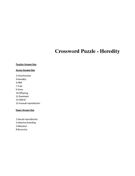 Middle School Biology Crossword Puzzle - Heredity