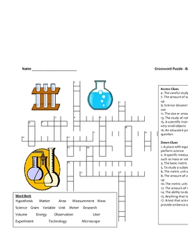Middle School Science Crossword Puzzle - Introductory Science Terms