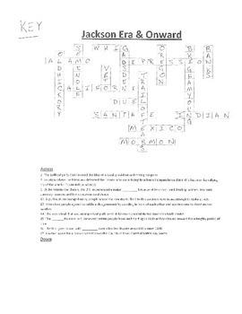 Crossword Puzzle- Jacksonian Era