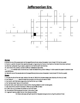 Crossword Puzzle- Jeffersonian Era