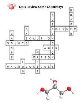 Crossword Puzzle - Let's Review Some Chemistry (with Answer Key)