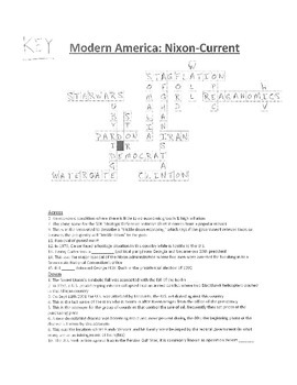 Crossword Puzzle- Modern America: Nixon-Current