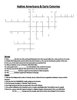 Crossword Puzzle- Native Americans-Colonial Heritage