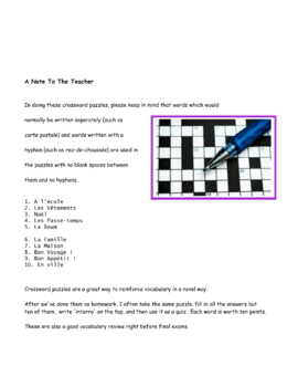 Crossword Puzzle * Pac For French
