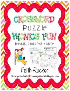 Crossword Puzzle Phonics Fun Blends & Digraphs - Set 2