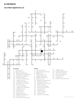 Preterite Crossword Puzzle: Regular ER/IR Verbs