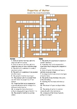 Solid Liquid Gas Activities Crossword Puzzle & Worksheets | TpT