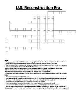 Crossword Puzzle- Reconstruction Era