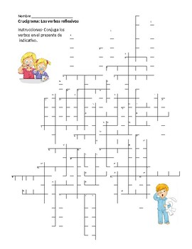 Crossword Puzzle- Reflexive verbs in the present tense (Realidades 2-2A)