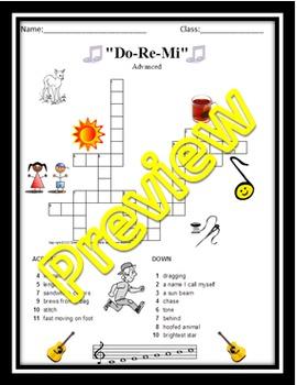 """Crossword Puzzle: Song Lyrics: """"Do-Re-Mi"""""""