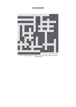 Spanish Vocabulary - Clothing and Accessories Crossword Puzzle