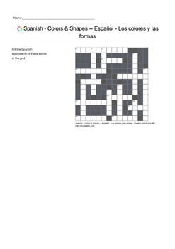 Spanish Vocabulary - Colors and Shapes Crossword Puzzle
