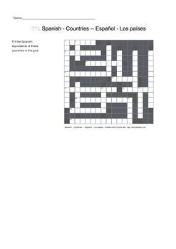 Spanish Vocabulary - Countries Crossword Puzzle