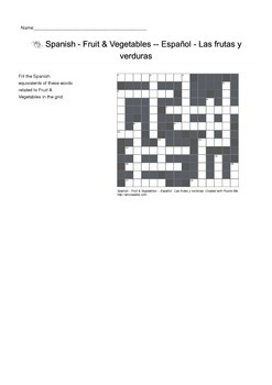 Spanish Vocabulary - Fruit and Vegetables Crossword Puzzle