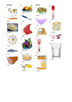 Spanish Vocabulary - Meals - Food and Cutlery Crossword Puzzle