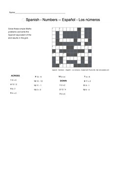Spanish Vocabulary - Numbers Part 1 Crossword Puzzle