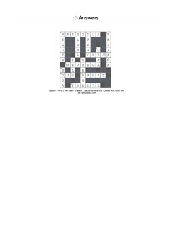Spanish Vocabulary - Parts of the Face Crossword Puzzle