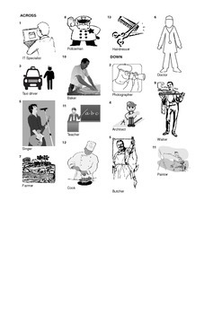 Spanish Vocabulary - Professions Part 1 Crossword Puzzle