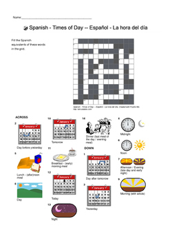 Spanish Vocabulary - Times of Day Crossword Puzzle